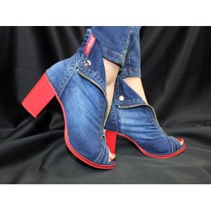 Jeansové dámske topánky na podpätku  LANQIER