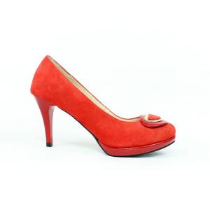 Červené elegantné lodičky 3664