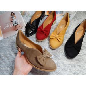 Dámske kožené topánky s mašličkou
