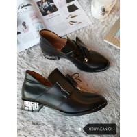 Dámske kožené topánky čierne