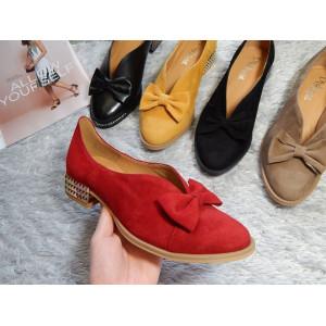 Dámske kožené topánky-červené