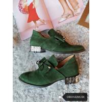 Dámske kožené topánky-zelené