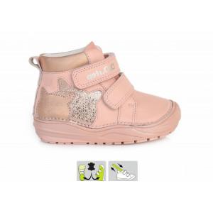 Detská celokožená obuv s ortopedickou vložkou ružová