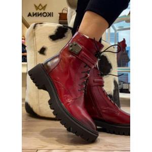 Červené dámske kožené topánky Epica